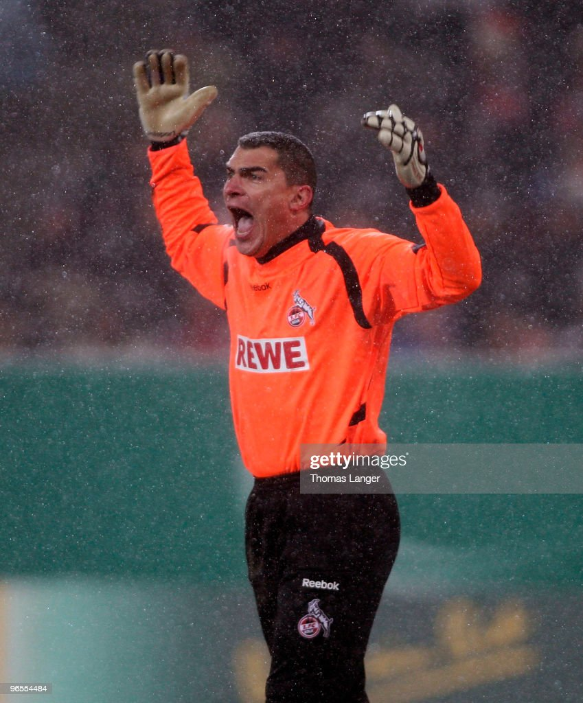 Goalkeeper Faryd Mondragon of Koeln reacts during the DFB Cup quarterfinal match between FC Augsburg and FC Koeln at the Impuls Arena on February 10, 2010 in Augsburg, Germany.