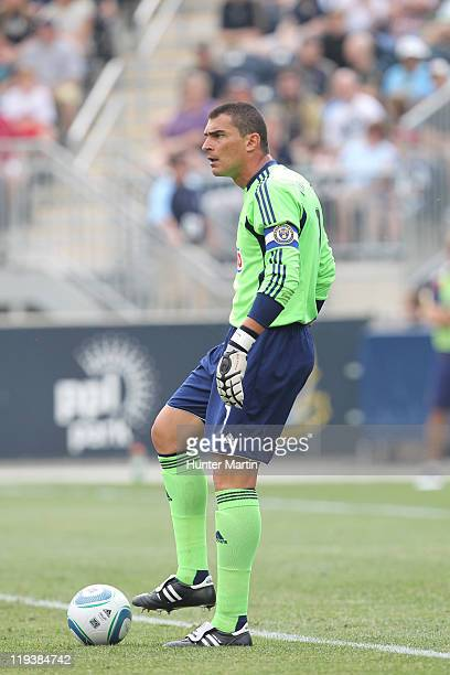 Goalkeeper Faryd Mondragon of the Philadelphia Union in action during a game against Real Salt Lake at PPL Park on June 11 2011 in Chester...