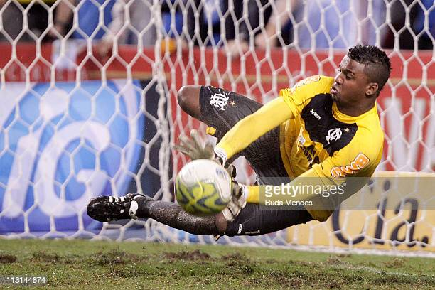 Goalkeeper Felipe of Flamengo defends penalty in the match as part Semifinal of Rio de Janeiro State Championship 2011 at Engenhao stadium on April...