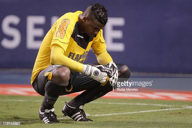 Goalkeeper Felipe of Flamengo during penalty in the match as part Semifinal of Rio de Janeiro State Championship 2011 at Engenhao stadium on April 24...