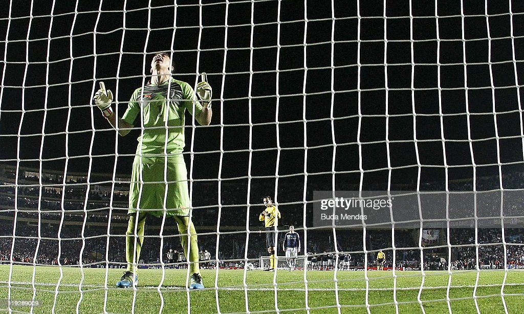 Goalkeeper Fernando Muslera celebrates after stopping a penalty during a mathc between Argentina and Uruguay as part od the Quarter Fina of the Copa America 2011 at Brigadier Lopez Stadium on July 16, 2011 in Santa Fe, Argentina.