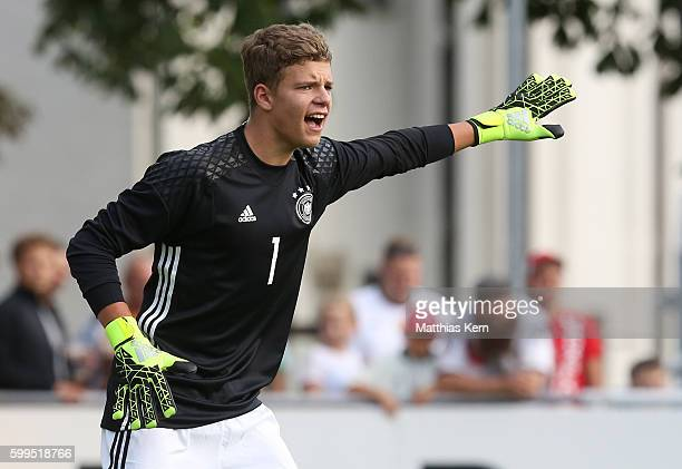 Goalkeeper Finn Gilbert Dahmen of Germany gestures during the international friendly match between U19 Germany and U19 Netherlands on September 5...