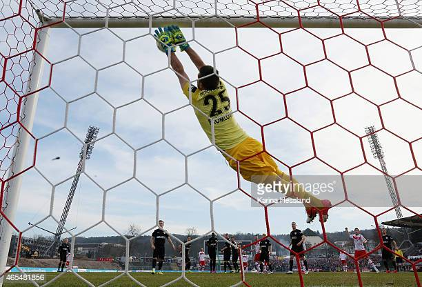 Goalkeeper Florian Fromlowitz of Wiesbaden in action during the Third League match between FC Rot Weiss Erfurt and SV Wehen Wiesbaden at...