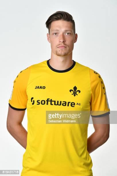 Goalkeeper Florian Stritzel of SV Darmstadt 98 poses during the team presentation at MerckStadion am Boellenfalltor on July 20 2017 in Darmstadt...