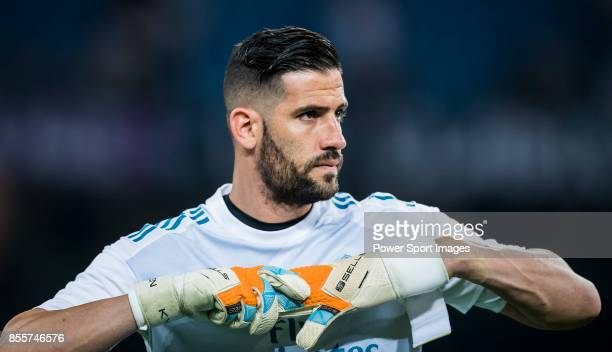 Goalkeeper Francisco Casilla Cortes Kiko Casilla of Real Madrid looks on prior to the La Liga 201718 match between Real Madrid and Real Betis at...