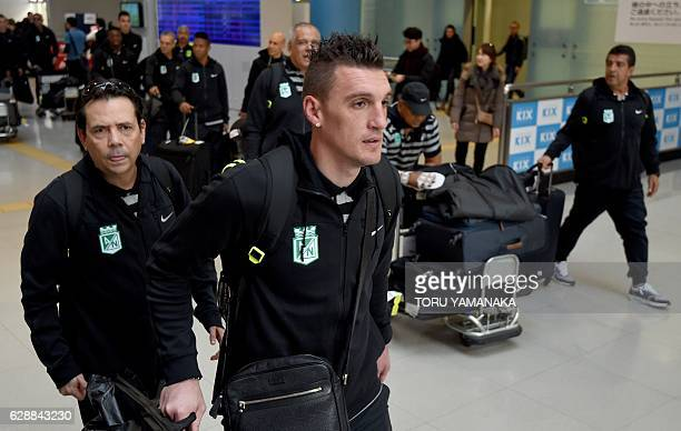 Goalkeeper Franco Armani and other team members of Colombian football club Atletico Nacional arrive at Kansai Airport in Izumisano Osaka prefecture...