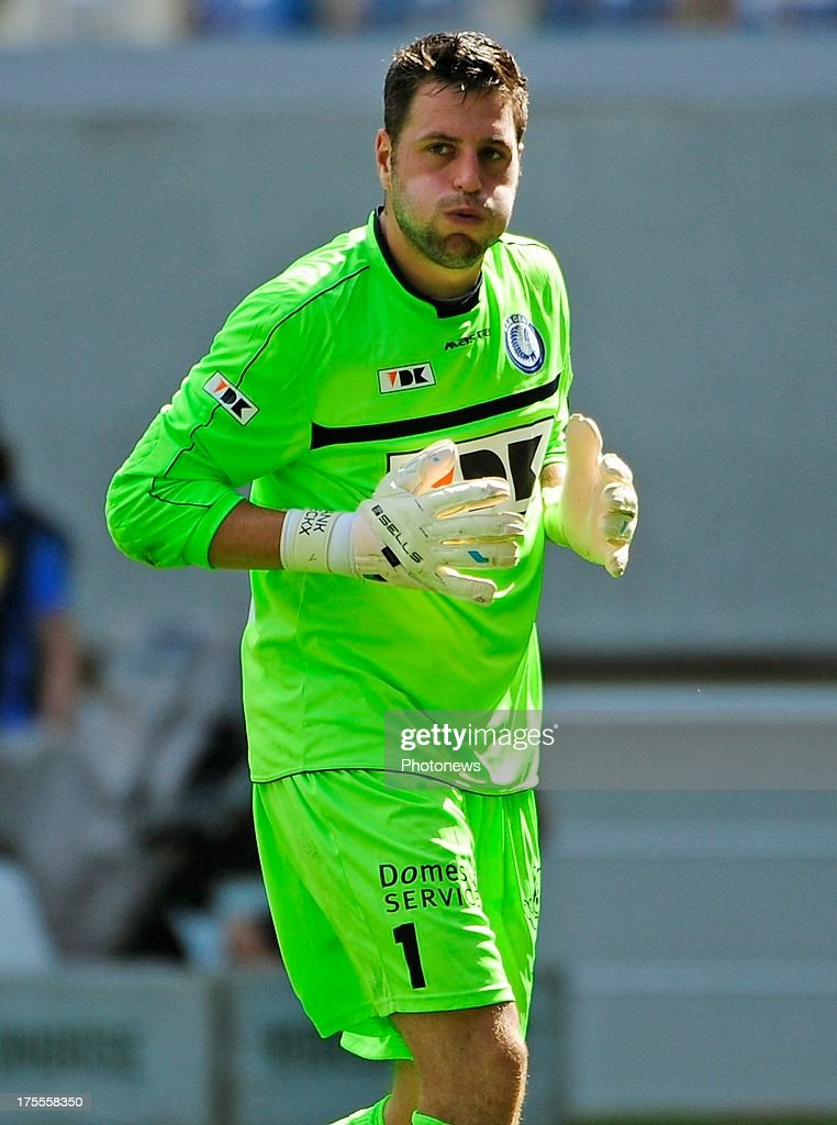 goalkeeper Frank Boeckx of KAA Gent during the Jupiler League match between KAA Gent and KV Mechelen on August 04, 2013 in the Ghelamco stadium Gent, Belgium. (Photo by Philippe Crcohet / Photonews