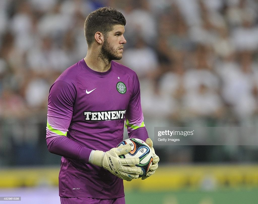 Goalkeeper <a gi-track='captionPersonalityLinkClicked' href=/galleries/search?phrase=Fraser+Forster&family=editorial&specificpeople=4185429 ng-click='$event.stopPropagation()'>Fraser Forster</a> of Celtic during the third qualifying round UEFA Champions League match between Legia and Celtic at Pepsi Arena on July 30, 2014 in Warsaw, Poland.