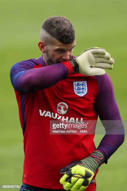 Goalkeeper Fraser Forster of England during an England Training Session at St Georges Park on June 6 2017 in BurtonuponTrent England