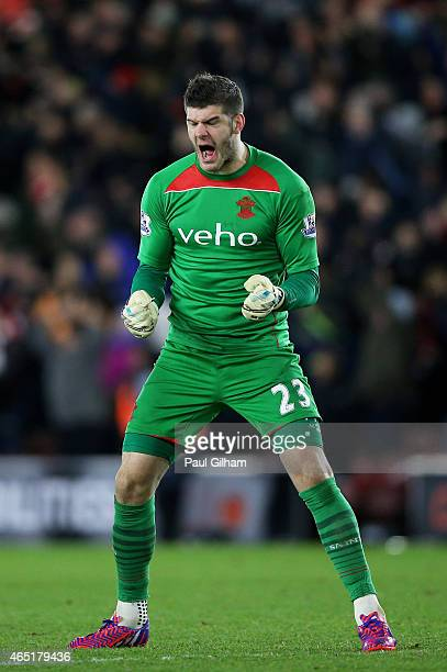 Goalkeeper Fraser Forster of Southampton celebrates as his team take a 10 lead during the Barclays Premier League match between Southampton and...