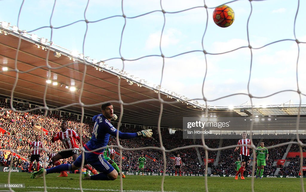 Goalkeeper Fraser Forster of Southampton goal watches the ball pass him as Sunderland score their first goal during the Barclays Premier League match between Southampton and Sunderland at St Mary's Stadium on March 05, 2016 in Southampton, England.