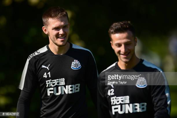Goalkeeper Freddie Woodman and Jamie Sterry walk outside during the Newcastle United Training session at Carton House on July 17 in Maynooth Ireland