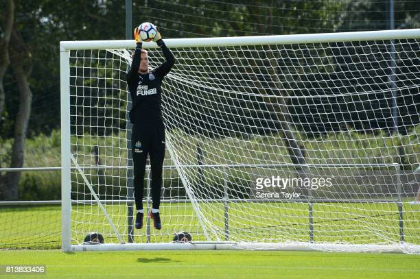 Goalkeeper Freddie woodman catches the ball during the Newcastle United Training session at the Newcastle United Training Centre on July 13 in...