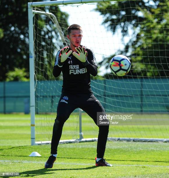 Goalkeeper Freddie Woodman catches the ball during the Newcastle United Training session at Carton House on July 17 in Maynooth Ireland