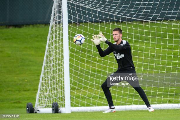 Goalkeeper Freddie Woodman catches the ball during the Newcastle United Training session at the Newcastle United Training ground on July 25 in...