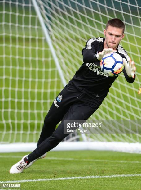 Goalkeeper Freddie Woodman catches the ball during the Newcastle United Training session at the Newcastle United Training ground on August 1 in...