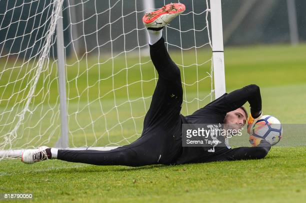 Goalkeeper Freddie Woodman dives to save the ball during the Newcastle United Training session at Carton House on July 19 in Maynooth Ireland