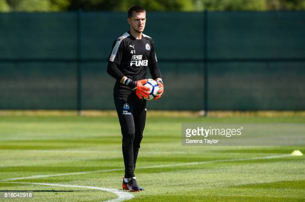 Goalkeeper Freddie Woodman holds the ball during the Newcastle United Training session at Carton House on July 17 in Maynooth Ireland