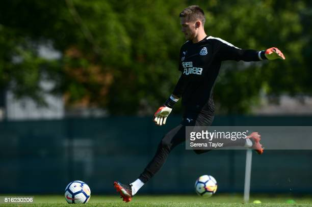 Goalkeeper Freddie Woodman kicks the ball during the Newcastle United Training session at Carton House on July 17 in Maynooth Ireland