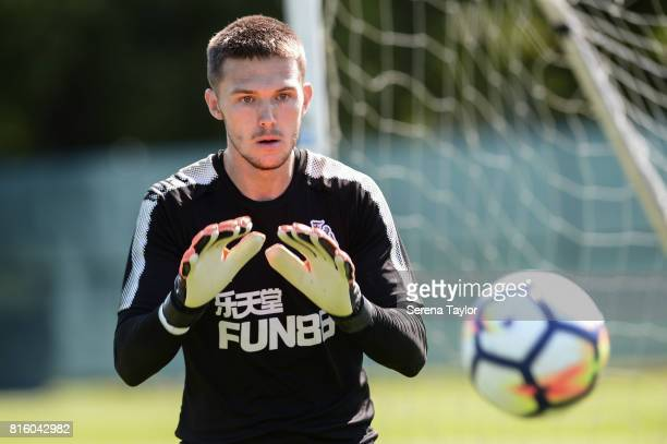Goalkeeper Freddie Woodman looks to catch the ball during the Newcastle United Training session at Carton House on July 17 in Maynooth Ireland