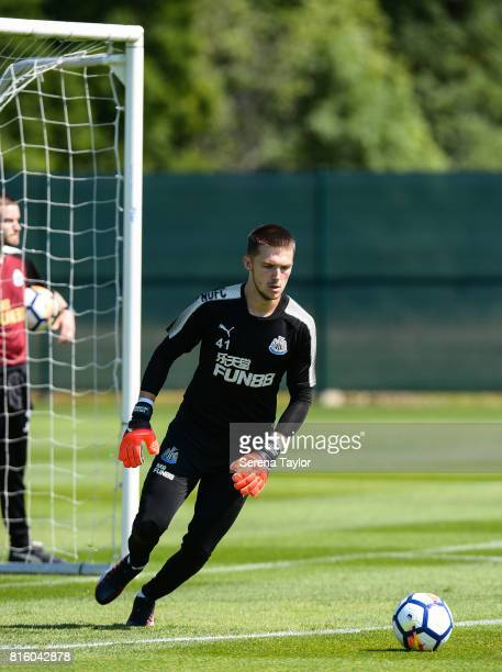 Goalkeeper Freddie Woodman looks to kick the ball during the Newcastle United Training session at Carton House on July 17 in Maynooth Ireland