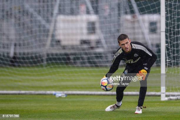Goalkeeper Freddie Woodman passes the ball during the Newcastle United Training session at Carton House on July 19 in Maynooth Ireland