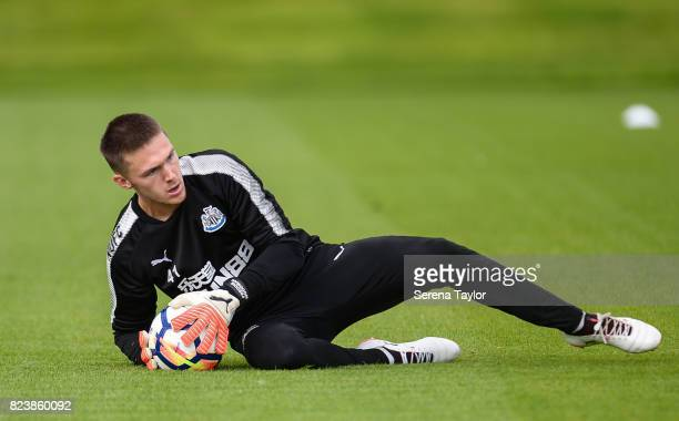 Goalkeeper Freddie Woodman saves the ball during the Newcastle United Training session at the Newcastle United Training ground on July 28 in...