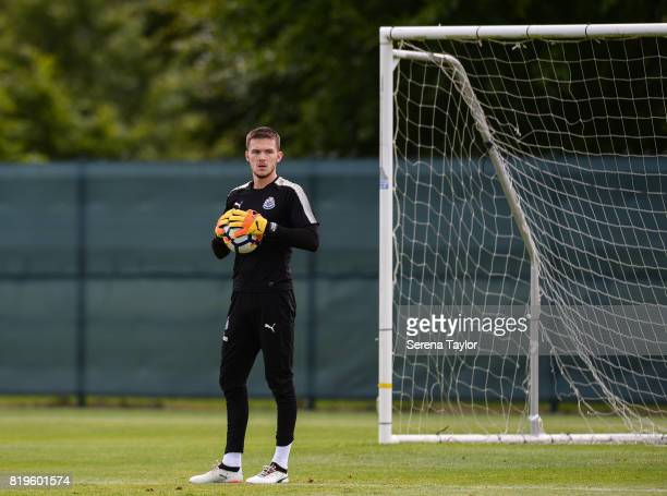 Goalkeeper Freddie Woodman stands holding the ball during the Newcastle United Training session at Carton House on July 20 in Maynooth Ireland