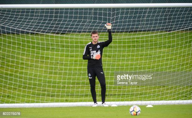 Goalkeeper Freddie Woodman stands in goal during the Newcastle United Training session at the Newcastle United Training ground on July 25 in...