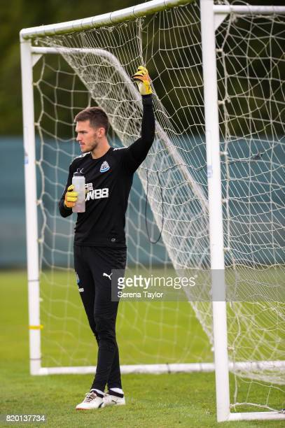 Goalkeeper Freddie Woodman stands in goal with a drink during the Newcastle United Training session at Carton House on July 21 in Maynooth Ireland