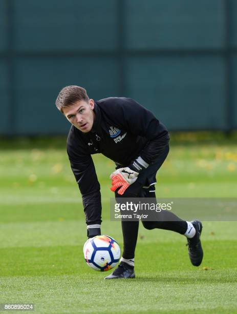 Goalkeeper Freddie Woodman throws the ball during the Newcastle United Training session at the Newcastle United Training Centre on October 13 in...
