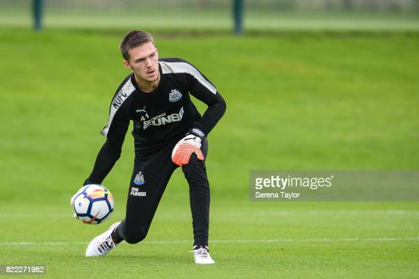 Goalkeeper Freddie Woodman throws the ball into play during the Newcastle United Training session at the Newcastle United Training ground on July 25...