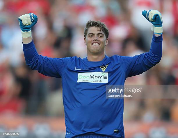 Goalkeeper Frederic Loehe of Aachen celebrates after the Regionalliga West soccer match between Fortuna Koeln and Alemannia Aachen at Stadion Sued on...