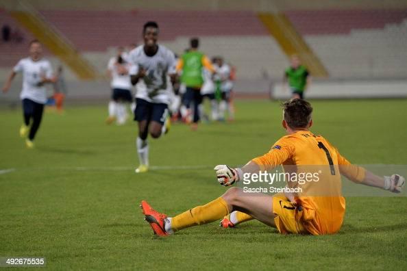 Goalkeeper Frederick Woodman of England reacts after winning the UEFA Under17 European Championship 2014 final match against Netherlands at Ta' Qali...