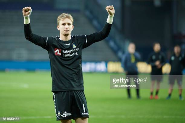 Goalkeeper Frederik Ronnow of Brondby IF celebrate after the Danish Alka Superliga match between Brondby IF and Silkeborg IF at Brondby Stadion on...