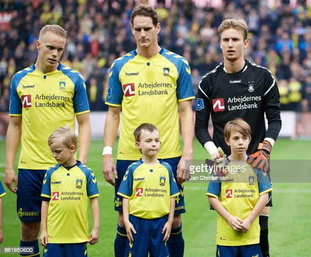 Goalkeeper Frederik Ronnow of Brondby IF during lineup prior to the Danish Alka Superliga match between Brondby IF and Silkeborg IF at Brondby...