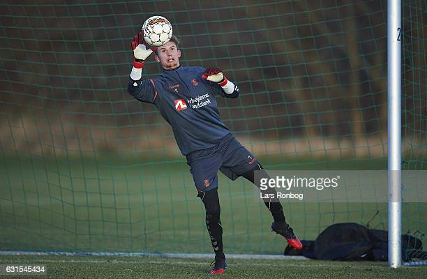 Goalkeeper Frederik Ronnow of Brondby IF in action during the Brondby IF training session at Brondby Stadion on January 12 2017 in Brondby Denmark