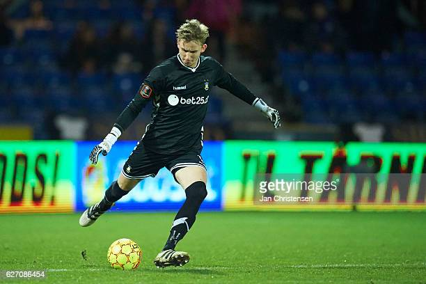 Goalkeeper Frederik Ronnow of Brondby IF in action during the Danish Alka Superliga match between Randers FC and Brondby IF at BioNutria Park Randers...