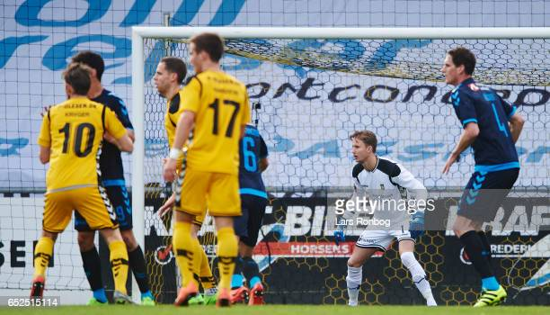 Goalkeeper Frederik Ronnow of Brondby IF in action during the Danish Alka Superliga match between AC Horsens and Brondby IF at Casa Arena Horsens on...
