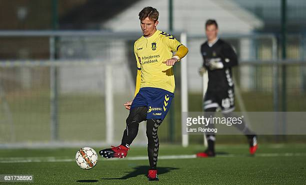Goalkeeper Frederik Ronnow of Brondby IF in action during the preseason friendly match between Brondby IF and KFUM Roskilde at Brondby Stadion on...