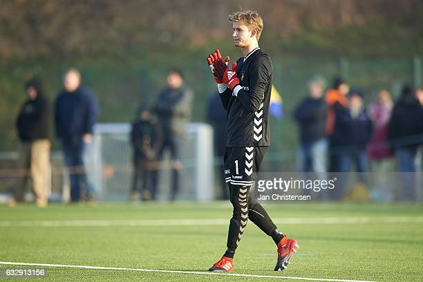 Goalkeeper Frederik Ronnow of Brondby IF in action during the preseason friendly match between Brondby IF and Roskilde FC at Brondby Stadion on...