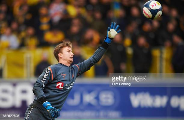Goalkeeper Frederik Ronnow of Brondby IF in action during the warmup prior to the Danish Alka Superliga match between AC Horsens and Brondby IF at...
