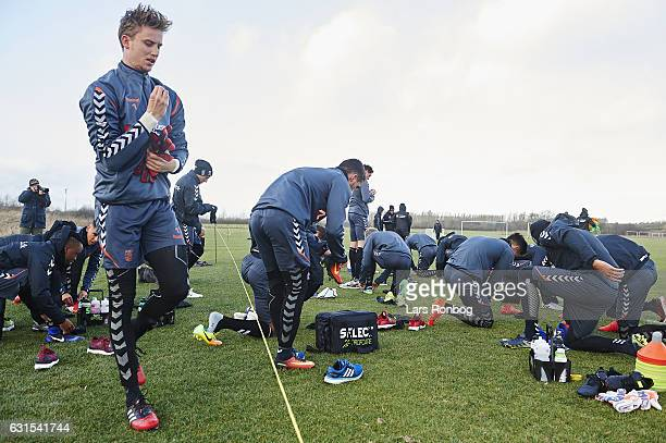 Goalkeeper Frederik Ronnow of Brondby IF prepares for the training prior to the Brondby IF training session at Brondby Stadion on January 12 2017 in...