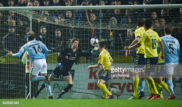Goalkeeper Frederik Ronnow of Brondby IF saves the ball during the Danish Alka Superliga match match between Sonderjyske and Brondby IF at Sydbank...