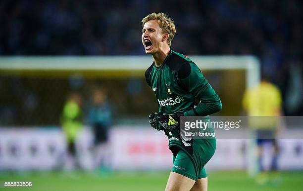 Goalkeeper Frederik Ronnow of Brondby IF shouts during the UEFA Europa League qualifier match between Brondby IF and Hertha Berlin at Brondby Stadion...