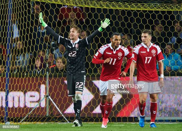 Goalkeeper Frederik Ronnow of Denmark gestures during the international friendly match between Denmark and Germany at Brondby Stadion on June 6 2017...