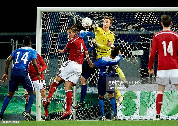 Goalkeeper Frederik Ronnow of Denmark U21 in action during the U21 International Friendly match between Denmark U21 and Unites States U21 at Lyngby...