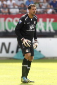goalkeeper Gabor Babos of NEC during the Dutch Eredivisie match between NEC Nijmegen and Ajax Amsterdam at the Goffert stadium on August 19 2012 in...