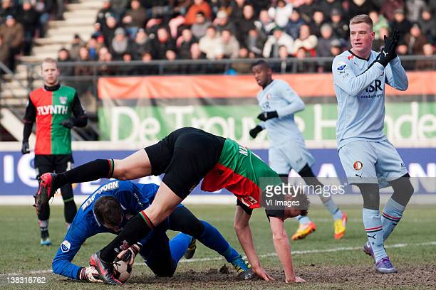 goalkeeper Gabor Babos of NEC Rens van Eijden of NEC John Guidetti of Feyenoord during the Dutch Eredivisie match between NEC Nijmegen and Feyenoord...