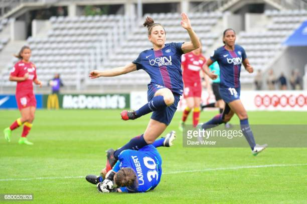 Goalkeeper Gabrielle Lambert saves at the feet of Veronica Boquete of PSG during the Women's Division 1 match between Paris Saint Germain and Asptt...